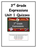3rd Grade Expressions Unit 1 Quizzes
