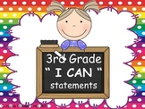 "3rd grade ""I can"" statements- school girl theme ELA & Math"