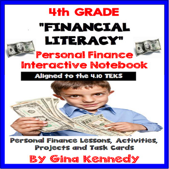 4TH Grade Math TEKS 4.10 Personal Financial Notebook Projects,Task Cards
