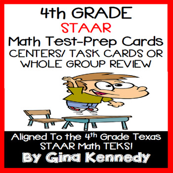 4th GRADE MATH STAAR CLASS REVIEW, CENTERS, TASK CARDS, 100% ALIGNED