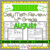 EDITABLE 4th Grade Daily Math Review/Morning Work- August