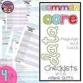 {4th Grade} Common Core Data Checklists - ELA and MATH
