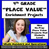 4th Grade Common Core Math PLACE VALUE Enrichment Project Menu