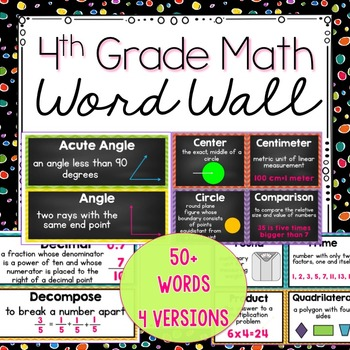 Math Vocabulary {4th Grade Word Wall}