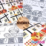 4th Grade NOVEMBER QR Code Printables - Low Prep!