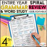 Fourth Grade Language Homework ENTIRE YEAR } EDITABLE