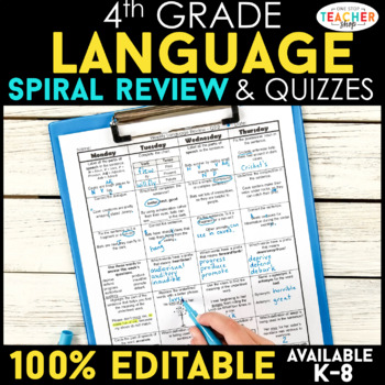 4th Grade Spiral Language Homework {Common Core} ENTIRE YEAR!!! - 100% Editable