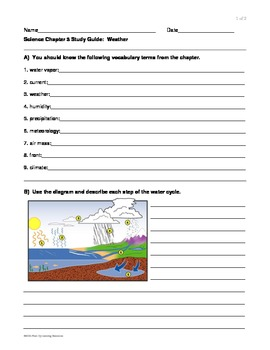 4th grade Weather lesson/unit Test Study Guide