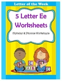 5 Letter E Worksheets / Alphabet & Phonics Worksheets