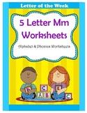 5 Letter M Worksheets / Alphabet & Phonics Worksheets