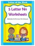 5 Letter N Worksheets / Alphabet & Phonics Worksheets