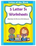 5 Letter S Worksheets / Alphabet & Phonics Worksheets / Le