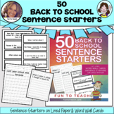 50 Back to School Sentence Starters