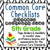 5th Grade Common Core Literacy Checklists: Proficiency, Le