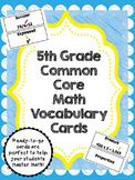 5th Grade Common Core Math Vocabulary Cards