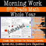 Morning Work Whole Year - Practice All 5th Grade Math Common Core