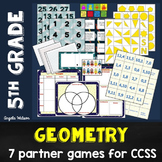 5th Grade Geometry Partner Games: 7 coordinate grids/2D sh