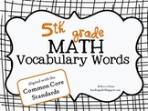 5th Grade Math Vocabulary Terms {Common Core}