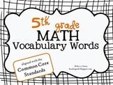 5th Grade Math Vocabulary Terms {Common Core}