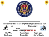 5th Grade Physical Fitness Certificate