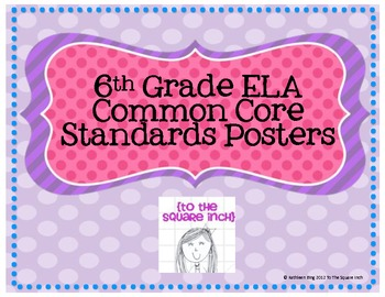6th Grade ELA Common Core Posters