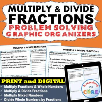 MULTIPLY AND DIVIDE FRACTIONS Word Problems with Graphic O