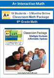 6th Grade Math - Classroom Package (10 Students, 3-Months)