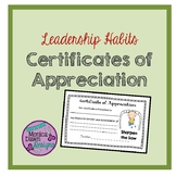 7 Leader Certificates of Appreciation, Habits