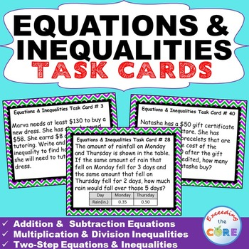 7th Grade EQUATIONS & INEQUALITIES Word Problems - Task Ca