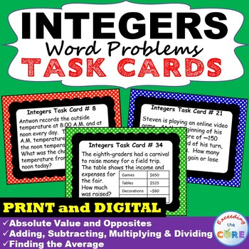 INTEGERS Word Problems  - Task Cards {40 Cards}