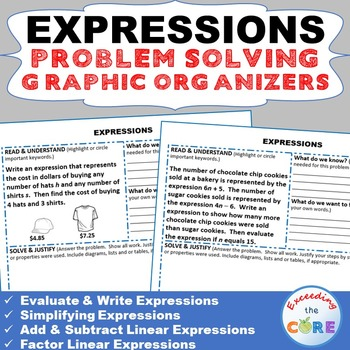EXPRESSIONS Word Problems with Graphic Organizer