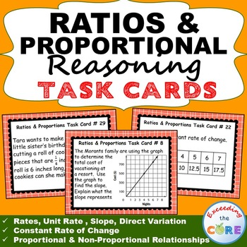 RATIOS & PROPORTIONAL REASONING Word Problems - Task Cards