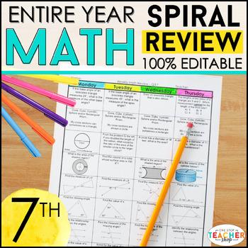 7th Grade Spiral Math Homework {Common Core} - ENTIRE YEAR!!! 100% Editable
