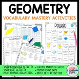 Geometry Vocabulary: 8 Activities