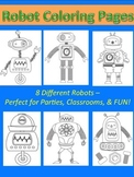 8 Printable Robot Coloring Sheets Pages