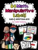 84 Math Manipulative Labels {Black & White Polka Dots}