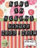 8th Grade Back to School Binder