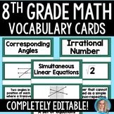 8th Grade Math Common Core Vocabulary Cards