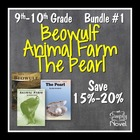 9th and 10th Grade DISCOUNT BUNDLE #1 - Beowulf, Animal Fa