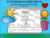 A+ 50 Kindergarten Sight Words: Spring Handwriting Practice