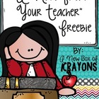 A Note From Your Teacher *FREEBIE*