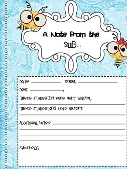 """A Note From the Sub"" Substitute Teacher Form"