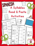 """""""A Syllables"""" Read and Paste Activities (Spanish)"""