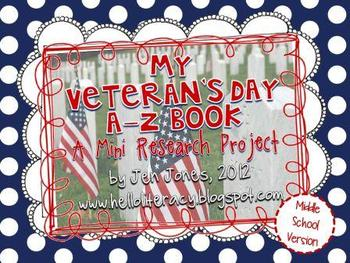 A-Z Book: Veteran's Day (Middle School Version)