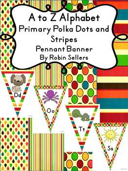 A to Z Alphabet Primary Polka Dots and Stripes Pennant Ban