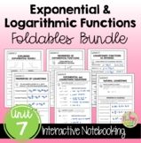 Exponential and Logarithmic Functions FOLDABLES (Unit 7) Bundle