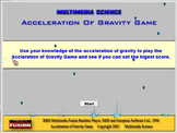 Physics - Acceleration of Gravity Game Software - Mechanic