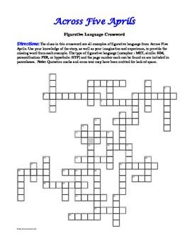 Across Five Aprils: Figurative Language Crossword--Fun!