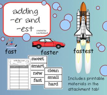 Adding -er and -est SmartBoard Lesson for Primary Grades