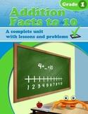 Addition Facts to 10  - a complete unit - Common Core Grade 1